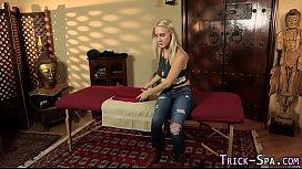 Duped massaged teen cum