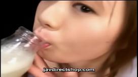 asian drink a bottle of cum