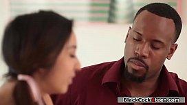 Slut asian invites black guy to fuck