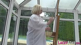 British granny artist rides dick