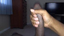 Jerking my black dick until I cum