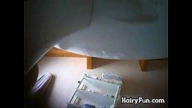 Hidden Bathroom Cam Watches A Hairy Chick