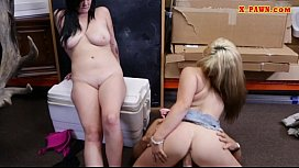 Lesbian couple gets pounded by pawn dude in the backroom