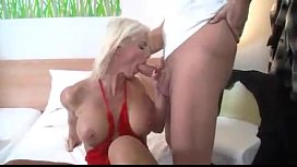 Blonde german milf is horny in the morning BIG ASS and TITS