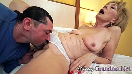 Tongued old lady plowed