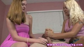 Handjob teen gets instruction from MILF
