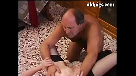 Mature man shags a young slut doggystyle