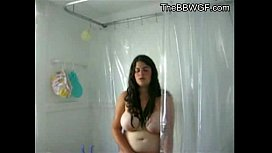 Innocent Fat Chubby Teen with hairy Pussy taking a shower
