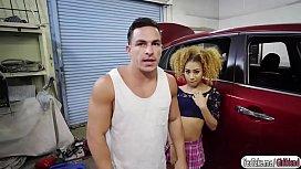 Ebony babe Kendall fucks the mechanic for some discounts
