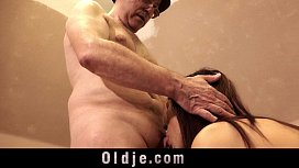 Old man and young tall girl sex play