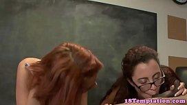 Stepteens tug cock in classroom threeway