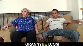 Big boobs blonde grandma pleases stranger