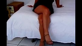 Fit short haired milf fucks BBC then a girl with a strapon