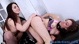 Lesbian in fishnets gets prolapse licked