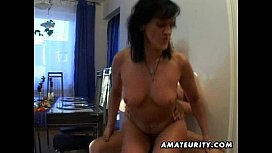 Mature amateur wife sucks and fucks with facial cumshot dog cum compilation