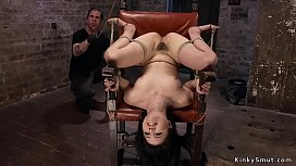 Hairy gagged brunette tormented in rope