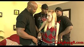 Horny blonde babe double stuffed by nasty black dudes