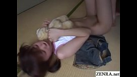 JAV teen stripped and fondled while holding bear Subtitled
