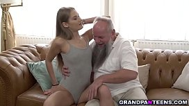 18 year old young beauty Tiffany Tatum walks in and quickly swallows grandpa Alberts mature dick. she spreads her pussy and got pounded until orgasm.