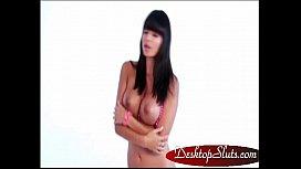 DesktopSluts.com - Virtua iStripper Desktop Stripper Tight Brunette Masturbates Dildo