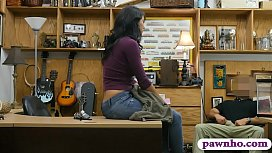 Hot ass brunette babe railed by pawn man in his pawnshop