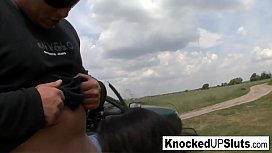 Knocked up slut takes care of a cock outdoors
