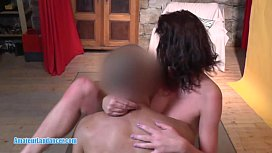 Flexible cougar gets fingered licked and gives blowjob