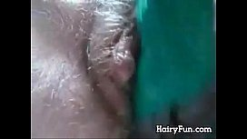 Hairy Pussy Enjoying An Adult Toy Close Up