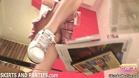 Cute cleaning girl Lara flashing her panties