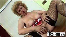 Cock hungry blonde granny munching on long cock lover while fingering her c-hi-1