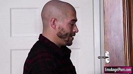 Busty tattooed babe fucked by neighbor