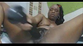 big ass dildo makes black chick squirt