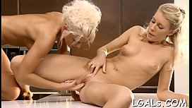 Four gals who love lesbo enjoyment are fingering and licking