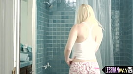 Gorgeous blonde lured to lesbo shower