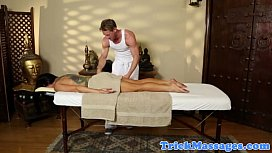 Busty massage babe naked on the table