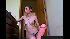 Girl with short hair taking a huge anal dildo. Visit sexxxcams.eu for more.