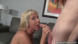 Mature wife fucked by skinny nerd with huge cock in front of hubby