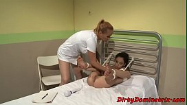 Tormented sub babe toyed by lezdom nurse