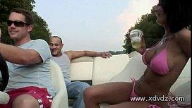 Guys In Party Mood Take Lovely Brunette In Bikini On A Boat Trip