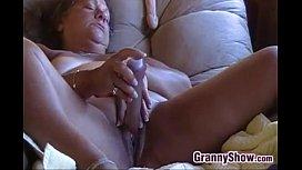 Horny Granny Masturbating With Her Toys
