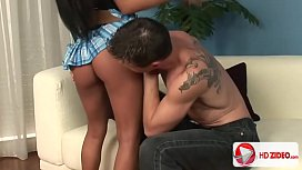 Exotic Raven Haired Beauty Makes Him Cum Twice