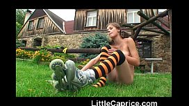 preview - Little Caprice learnsroller skating naked_outdoors!