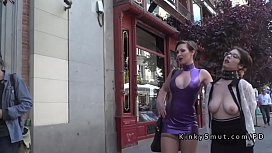 Busty walked in public in lezdom shame