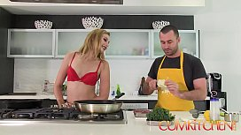 CUM KITCHEN Tall Blonde Babe Alexa Grace Gets her Pussy wrecked in the Kitchen