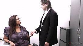 Black BBW secretary ruins engagemen HD; bbw, ebony, office, secretary, titty-fuck, big-tits, big-ass