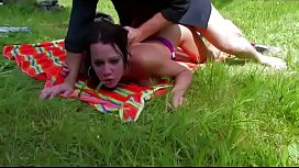 Picnic and a strong fuck for a french brunette