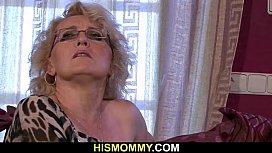Granny seduces her son'_s snoozing GF