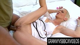 Granny Vs BBC - Petite Grandma Roxette Gets Destroyed by Her Mans Huge Cock