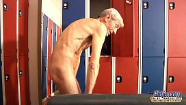 Young girl is so kinky that fucks an old fart in a locker room image