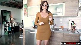Hot skinny MILF stepmom helps a stepson get rid of that